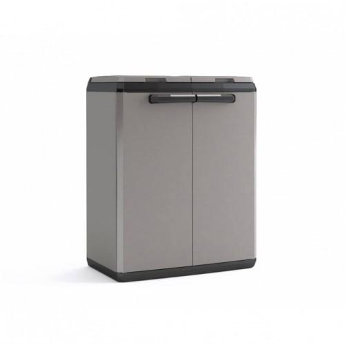 Contenitore Per Differenziata In Plastica 39x68x85 Cm Armadio Split Basic Nerogrigio Keter
