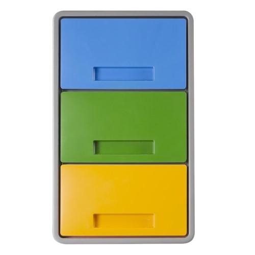 Contenitore Polymax 40lt Per Differenziata Tre Scomparti Separati Grigio Con Tre Coperchi Colorati Mattiussi