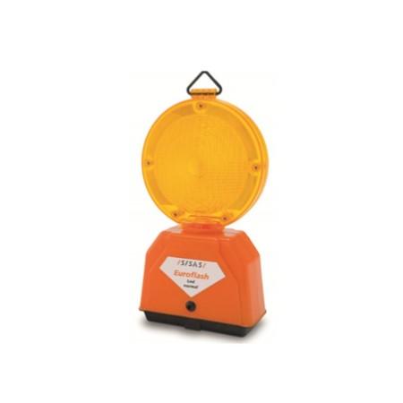 Lampeggiatore Da Cantiere Euroflash Giallo 2 Led Alimentazione A Batteria 7ah Sisas